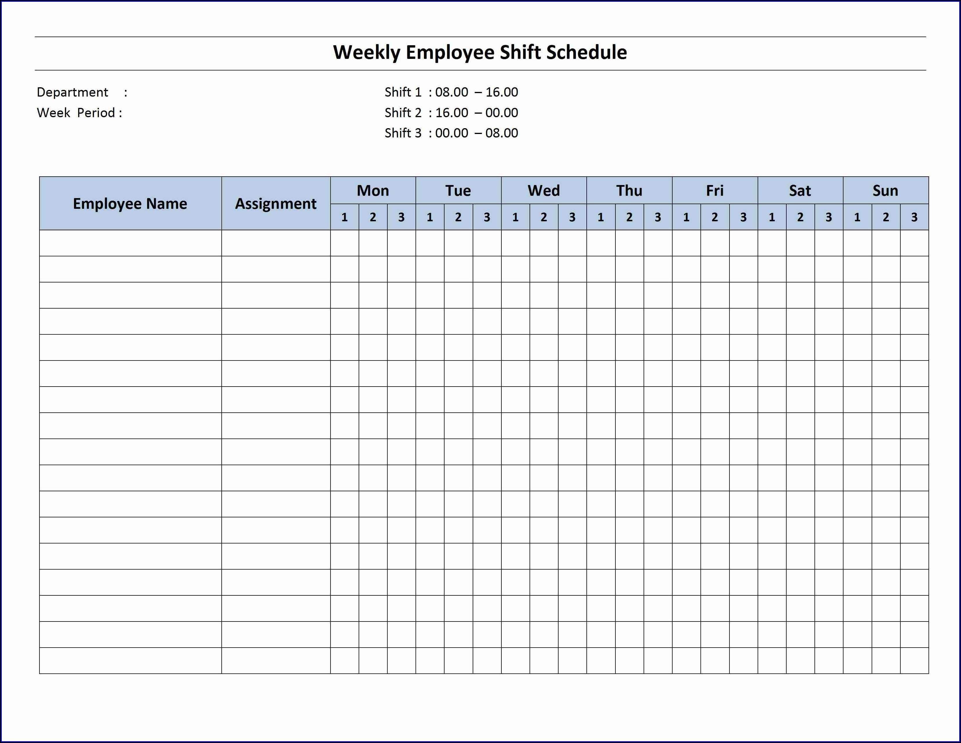 Monthly Employee Schedule Template