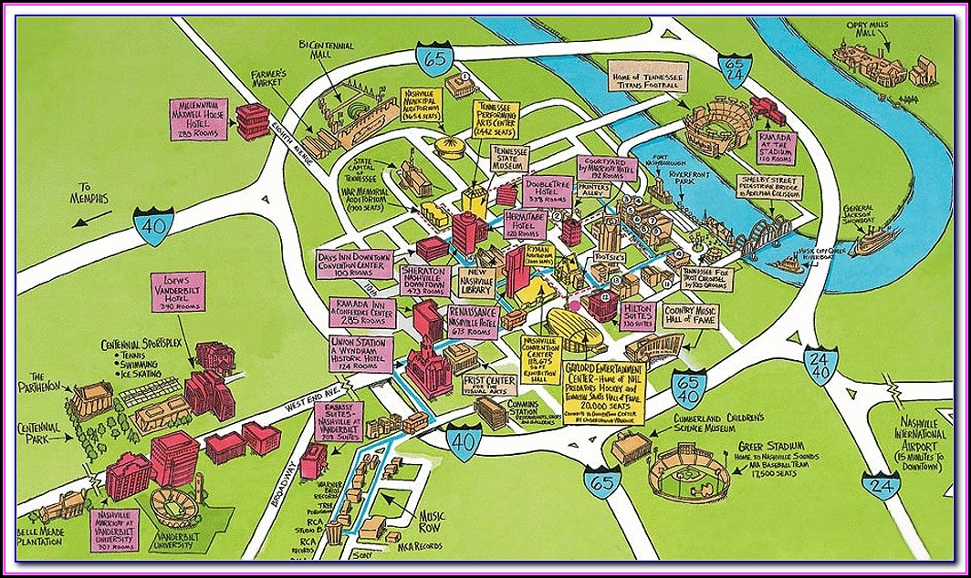 Nashville Hotels Downtown Map