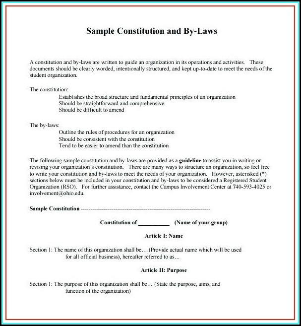 Non Profit Bylaws Template Canada