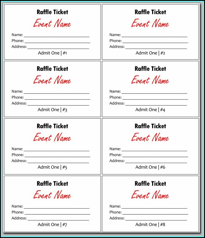 Numbered Raffle Ticket Template Publisher