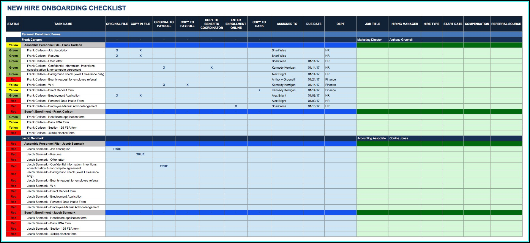 Onboarding Process Template Excel