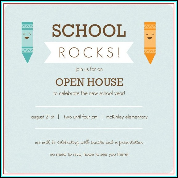 Open House Invitation Template For School