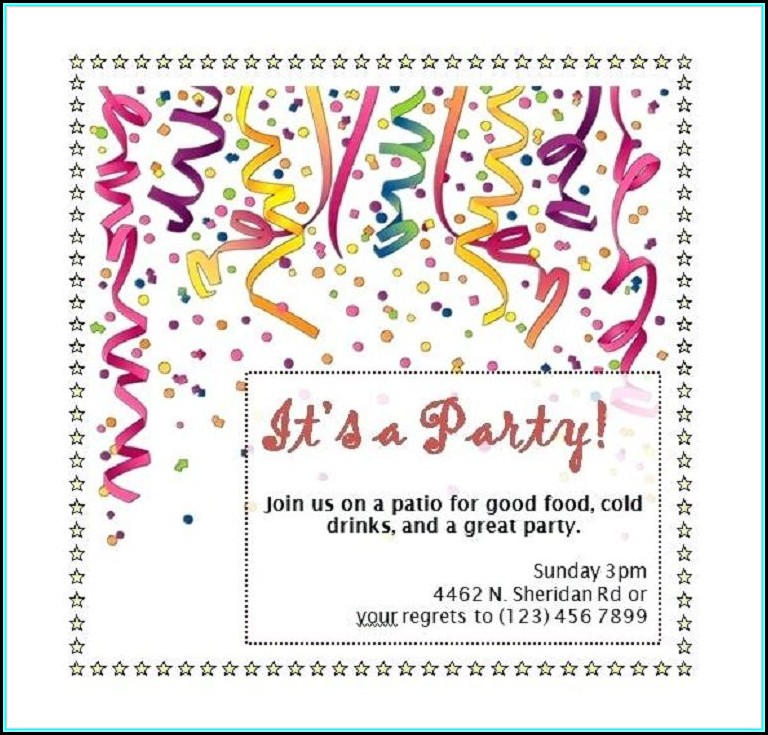 Party Invitation Template Word Free