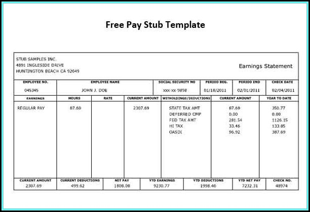 Pay Stub Template Free Pdf