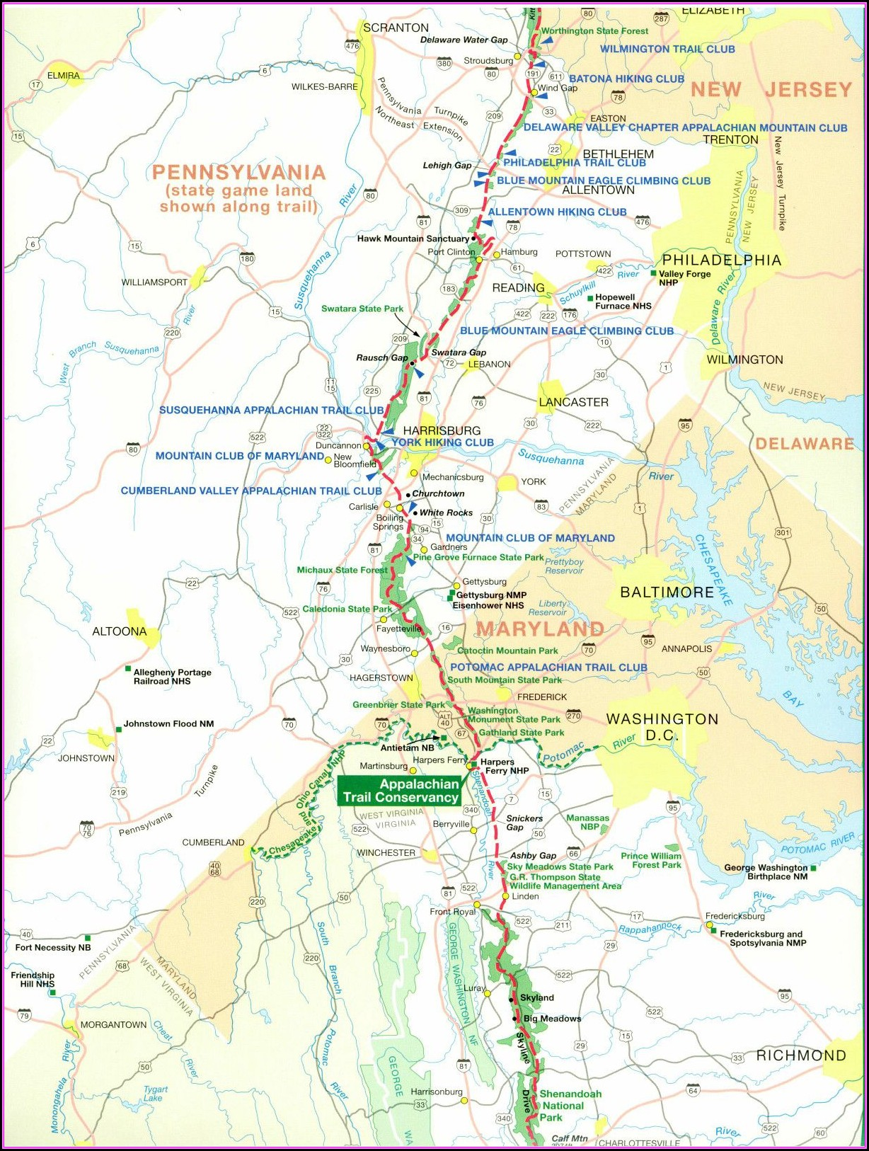 Pennsylvania Appalachian Trail Map
