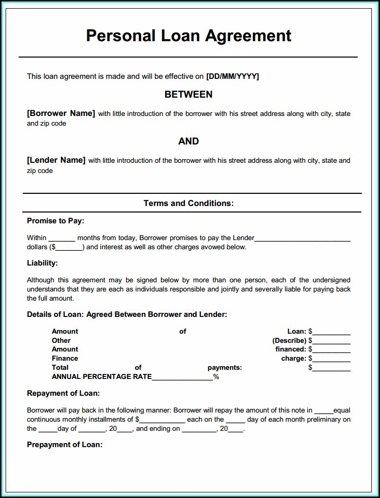 Personal Loan Contract Form