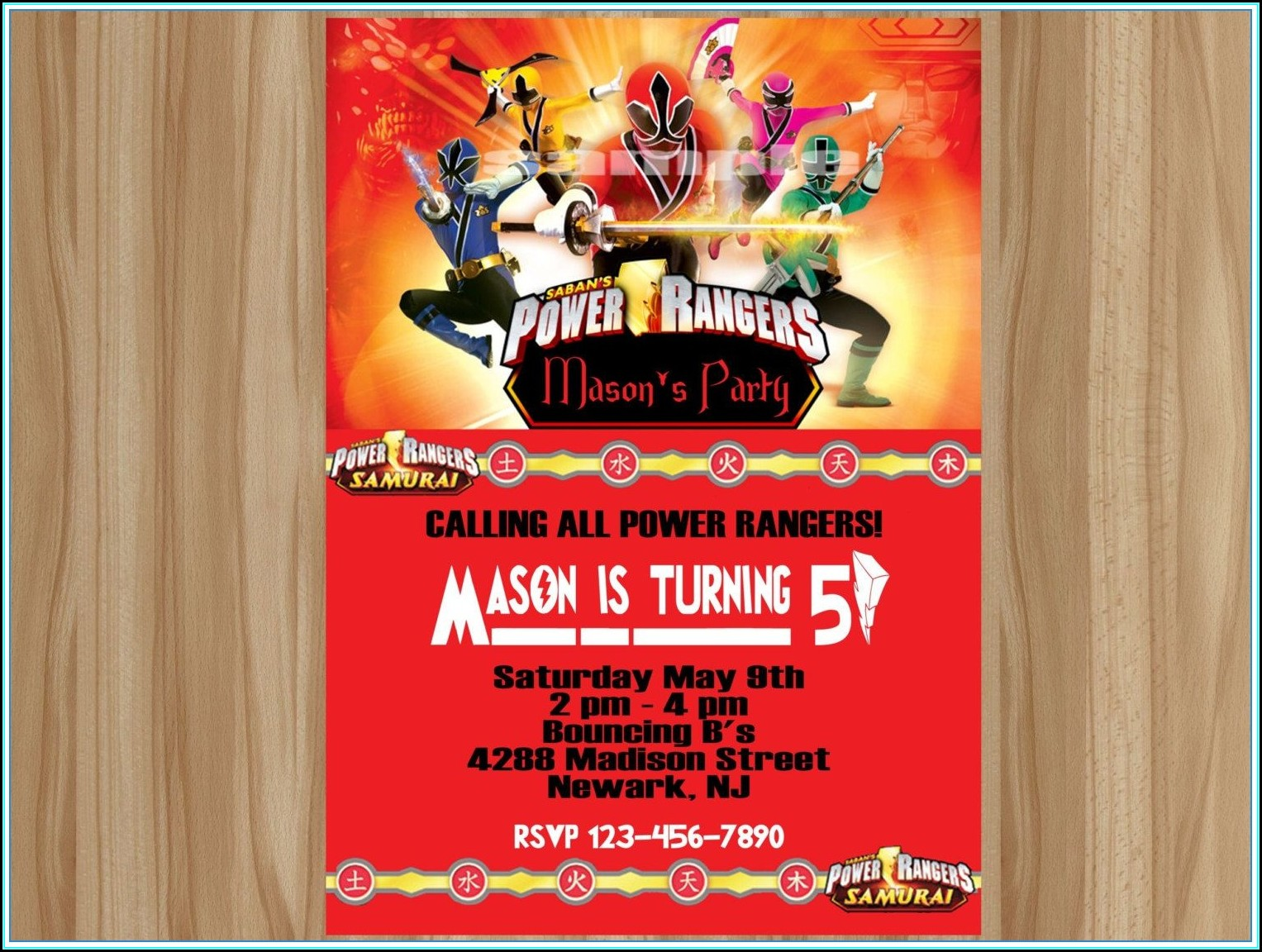 Power Rangers Invitations Template Free