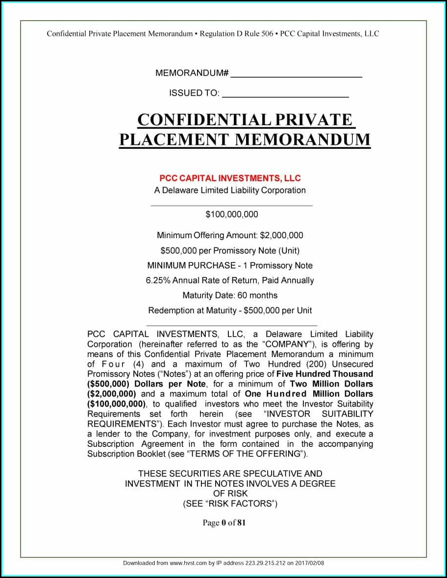 Private Placement Memorandum Template Real Estate