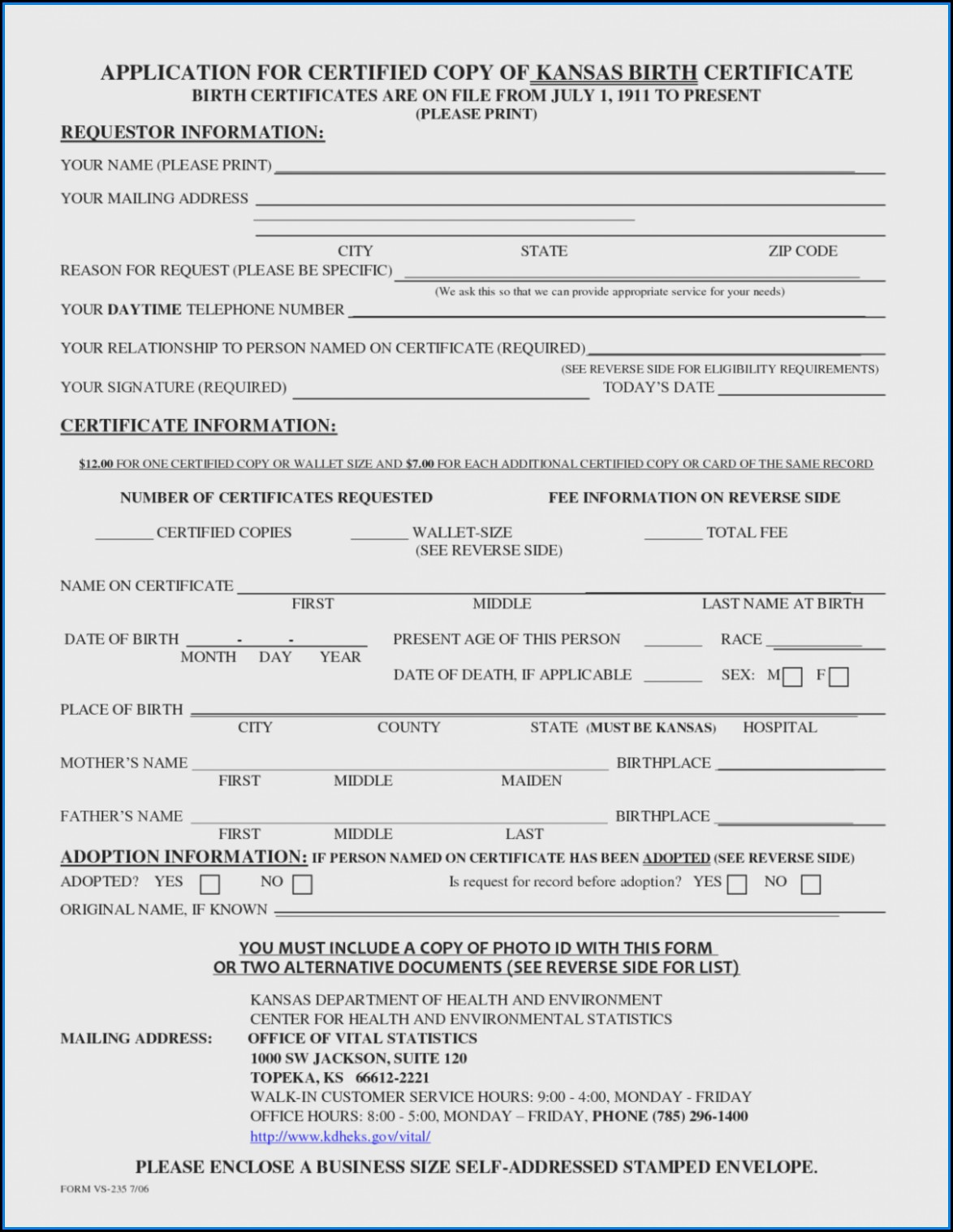 State Of Oregon Birth Certificate Request Form