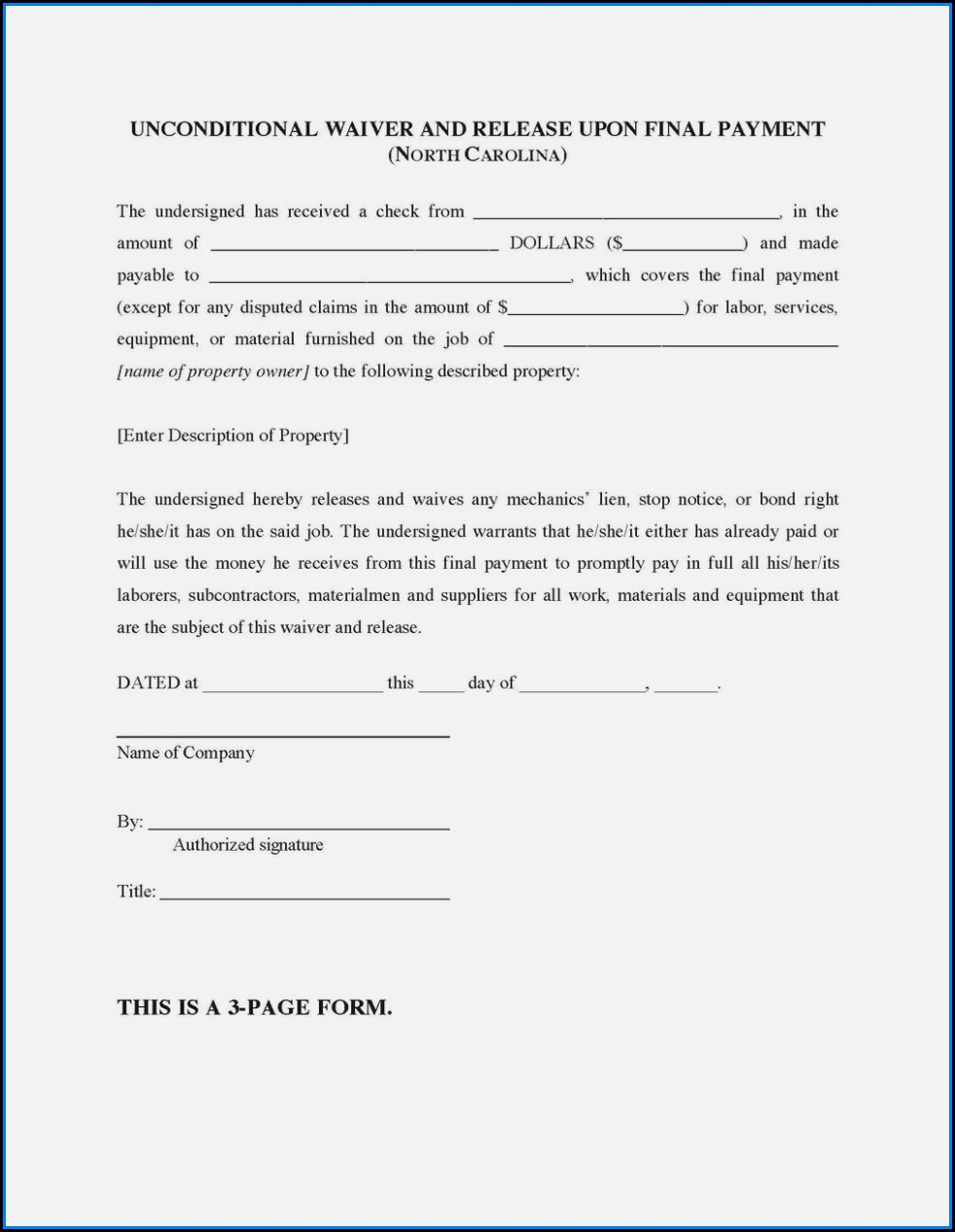 Subcontractor Lien Waiver Form Mn