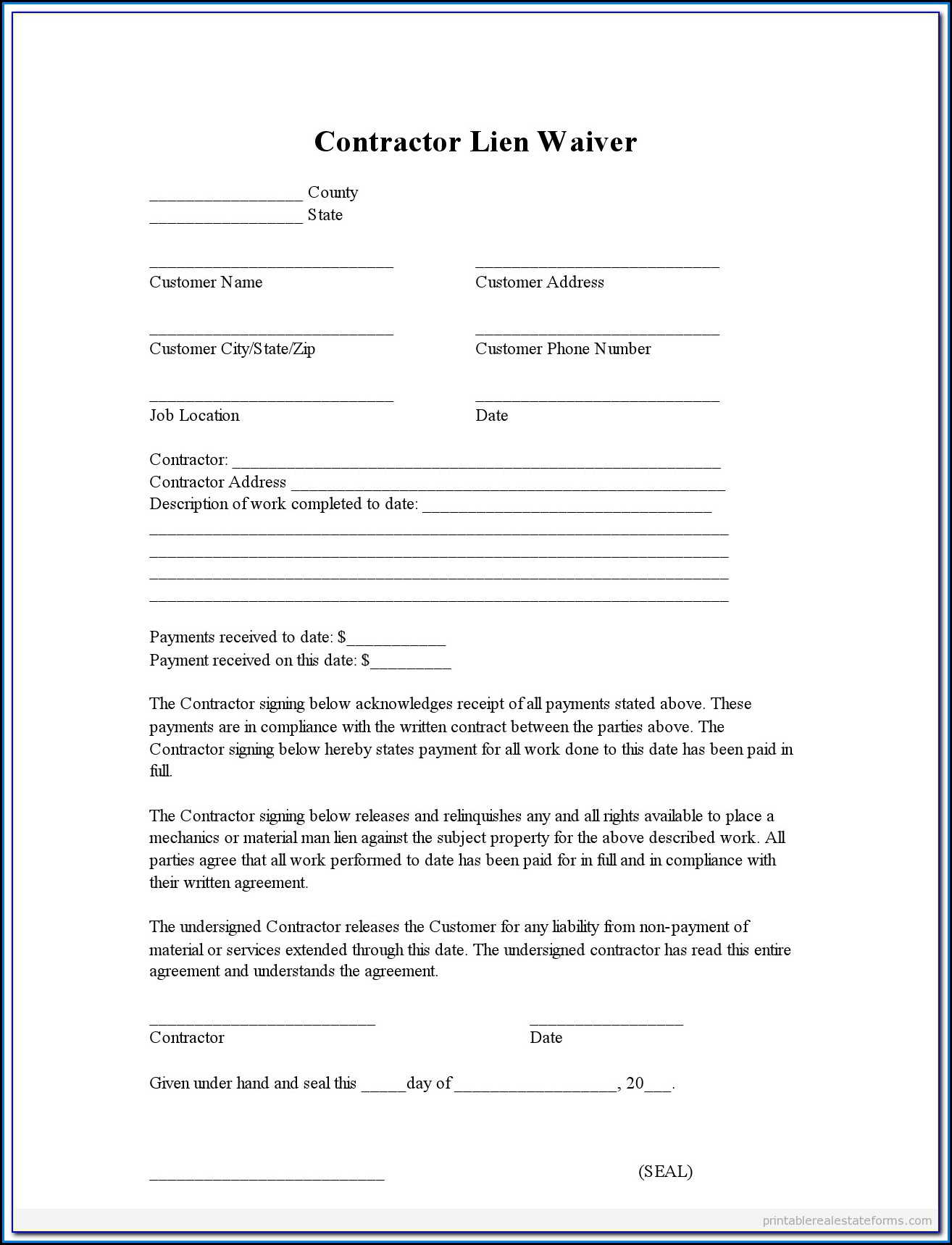 Subcontractor Lien Waiver Form North Carolina