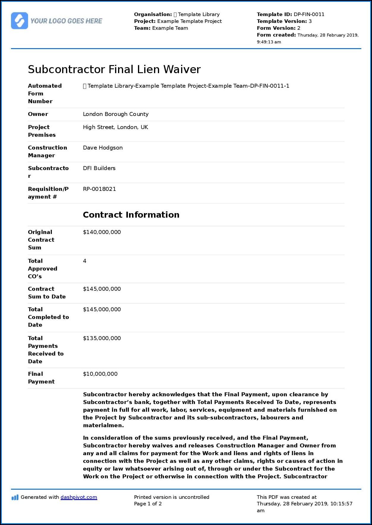 Subcontractor Lien Waiver Form Pdf