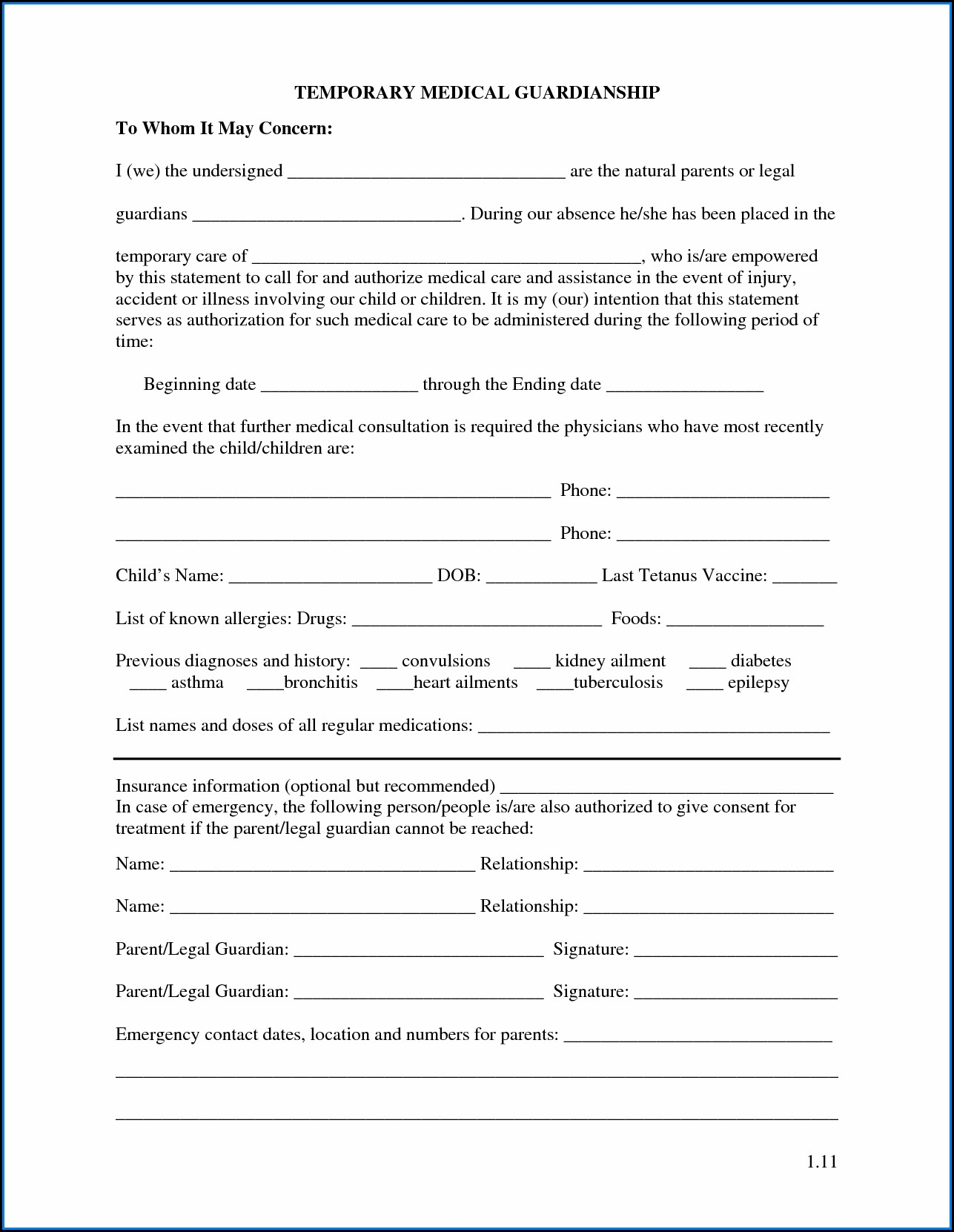 Temporary Child Custody Forms