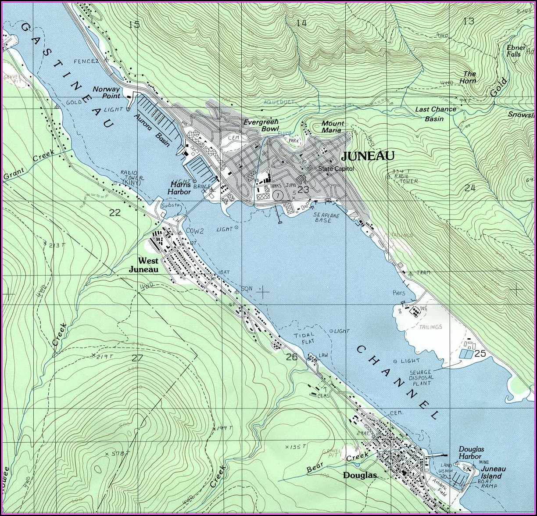 Topographic Map Juneau Alaska