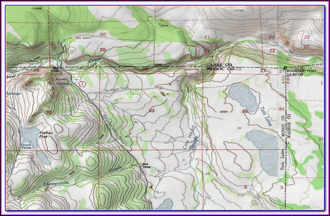 Topographic Map Of Oregon And Washington