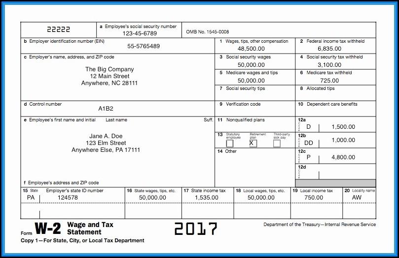 W2 Tax Forms 2017