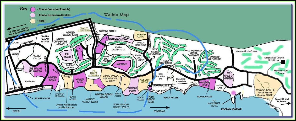 Wailea Beach Hotels Map