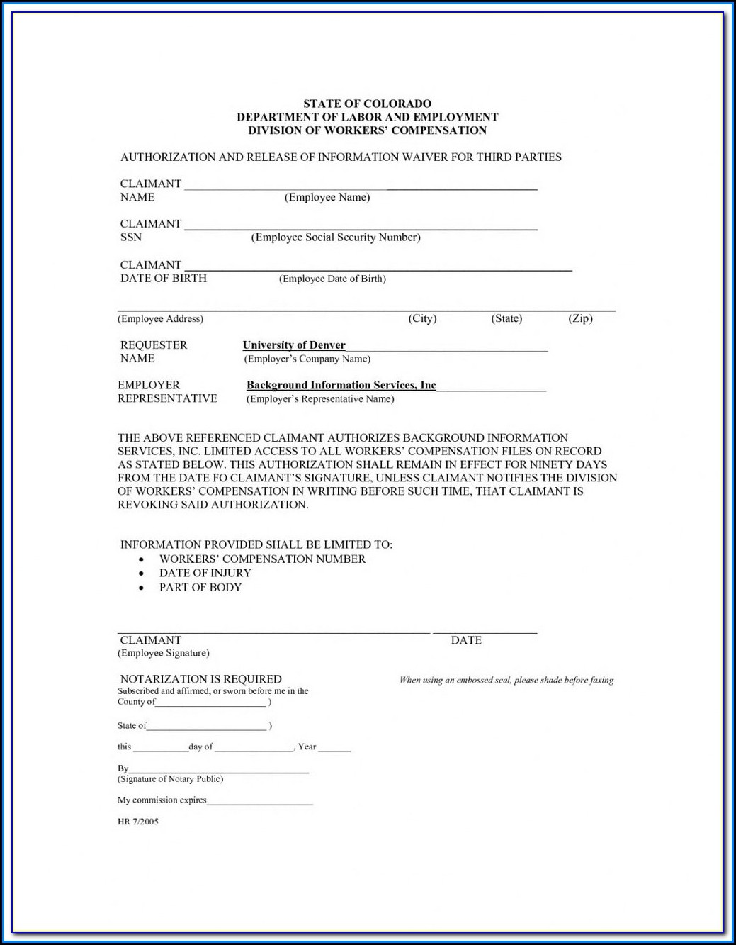 Workmans Comp Waiver Form