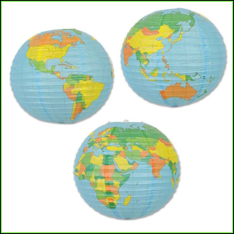 World Map Paper Lanterns