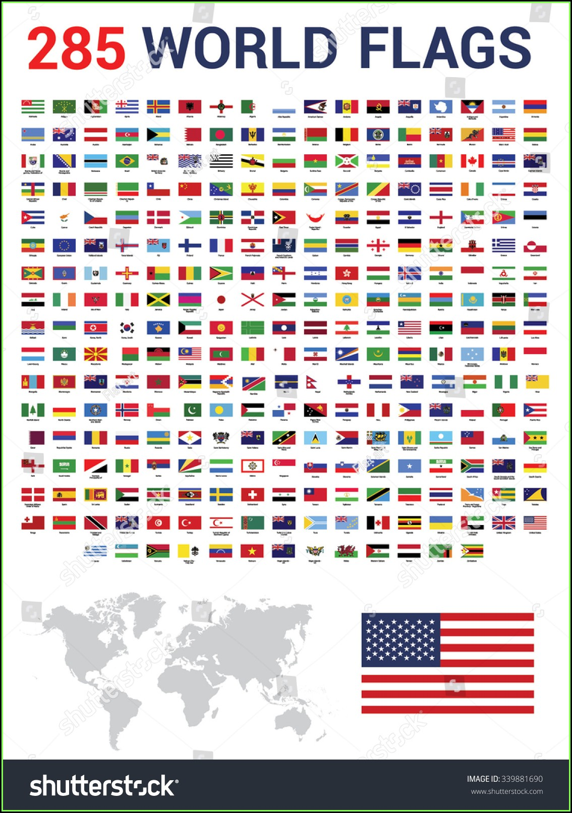 World Map With Flags And Names