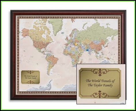 World Traveler Map Set Framed Gift