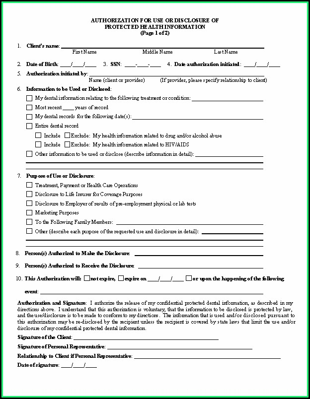 Dental Hipaa Form 2019