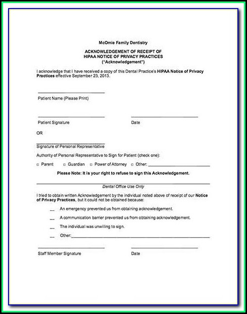 Dental Hipaa Form Pdf