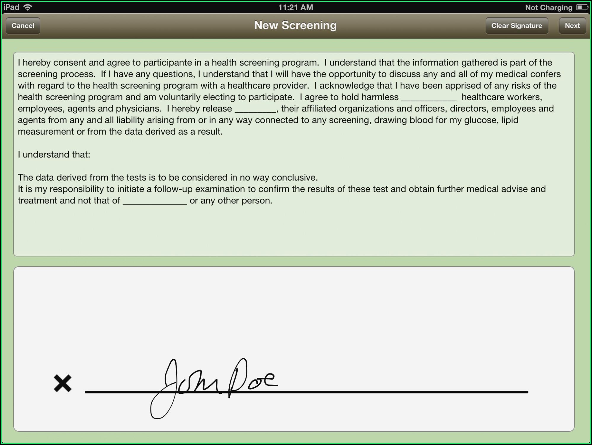 E Signature Consent Form