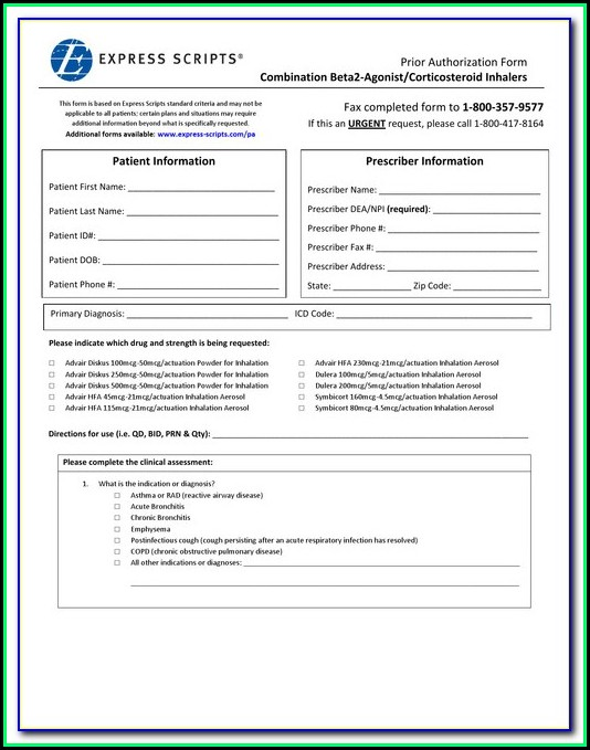 Express Scripts Prior Authorization Form Medicare Part D