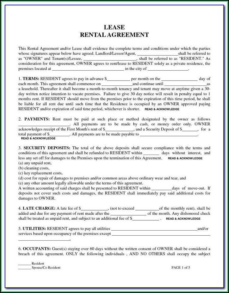 Florida Renters Lease Agreement Form
