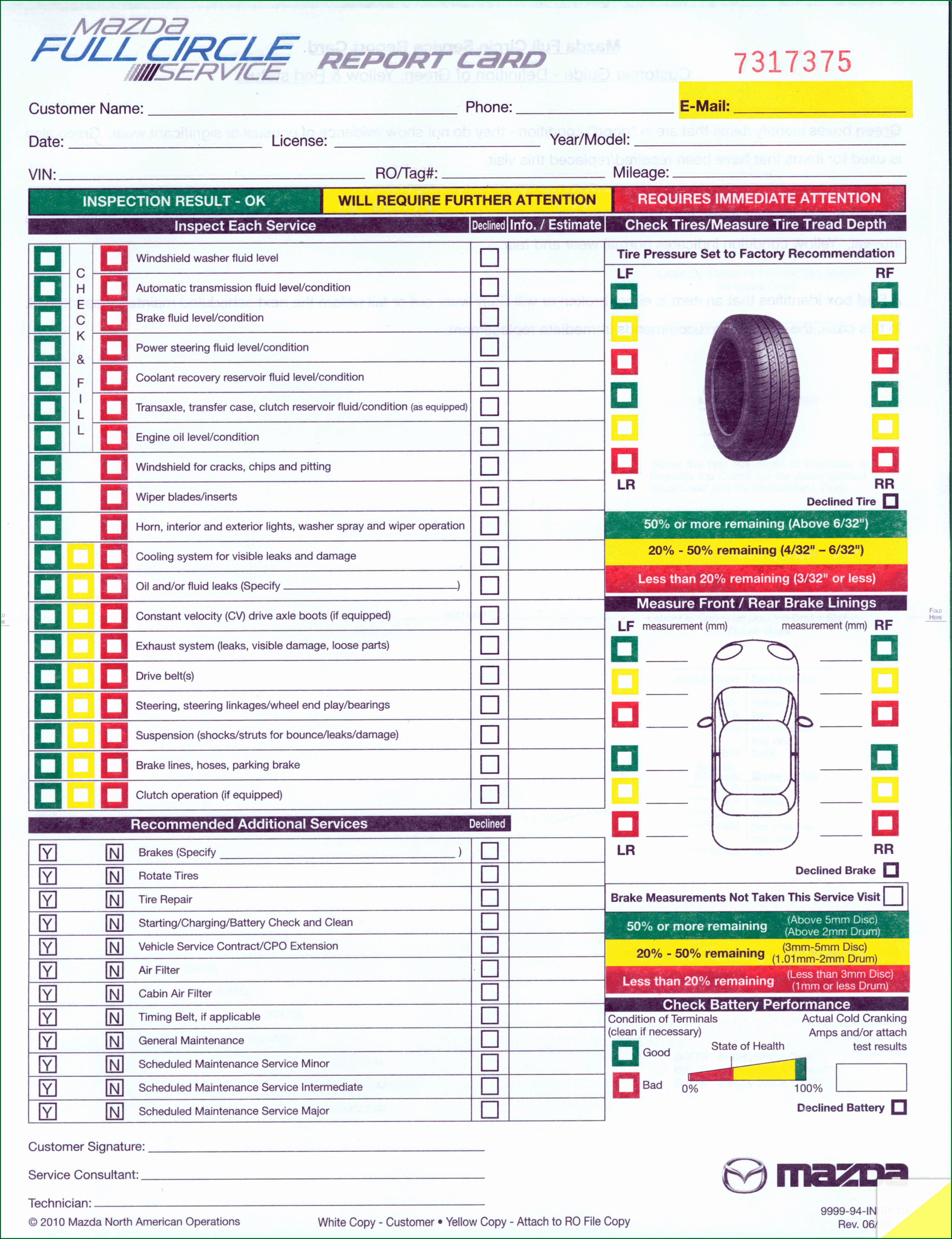 Ford Multi Point Inspection Form Pdf