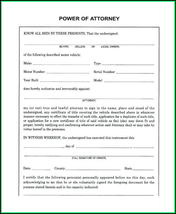 Free Blank Power Of Attorney Form Florida