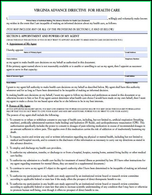 Free Medical Power Of Attorney Form Virginia