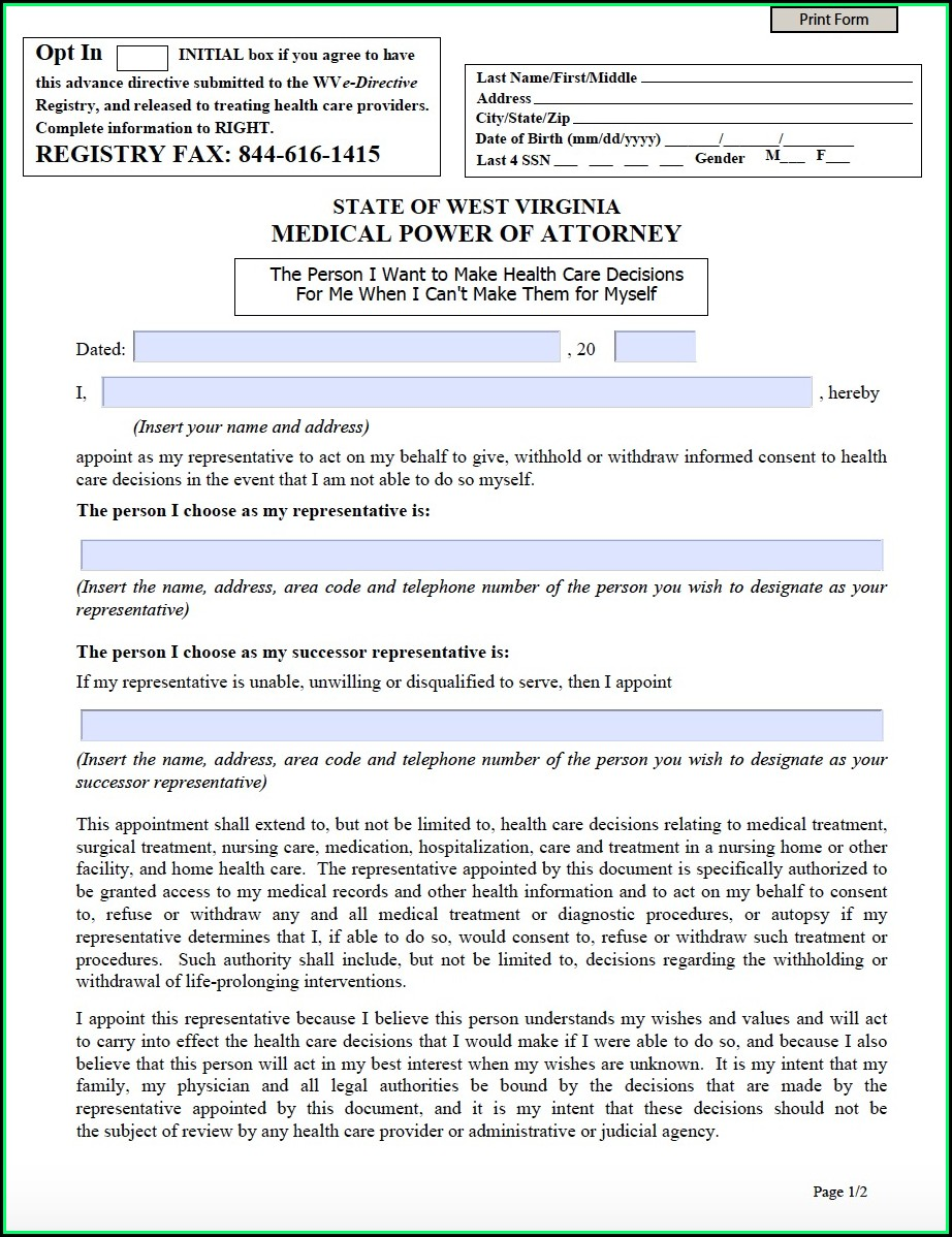 Free Power Of Attorney Form West Virginia