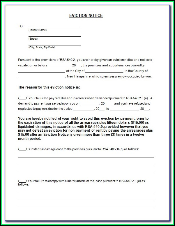 Free Printable 3 Day Eviction Notice Form
