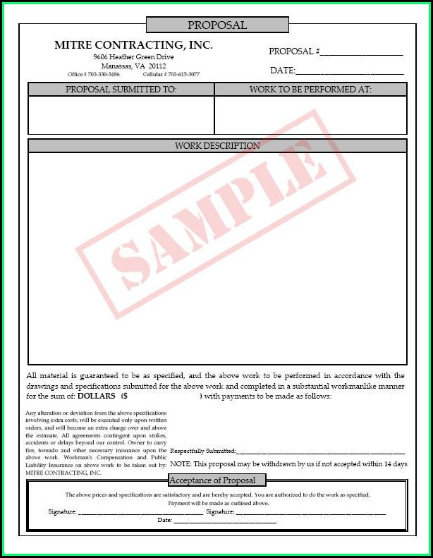 Free Printable Job Proposal Forms