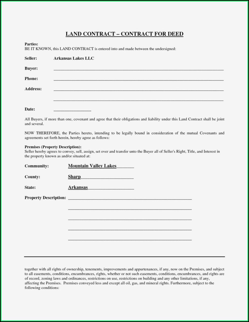 Free Printable Land Contract Form Michigan