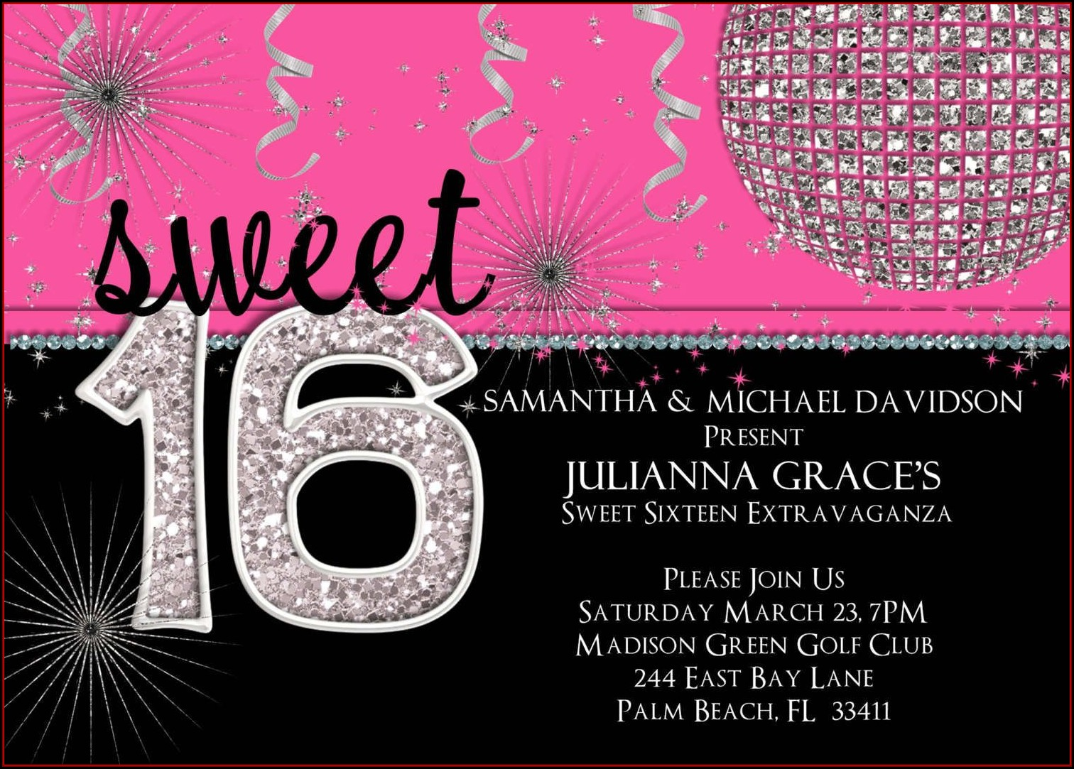 16th Birthday Invitation Templates