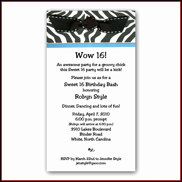 16th Birthday Invitation Wording Samples