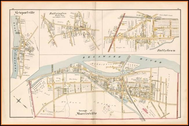 1891 Map Of Bucks County Pa