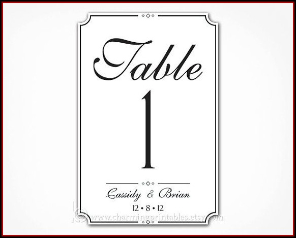 4x6 Wedding Table Number Templates Free