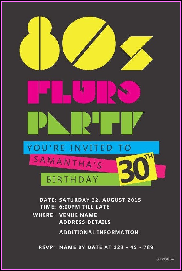 80s 90s Party Invitation Template
