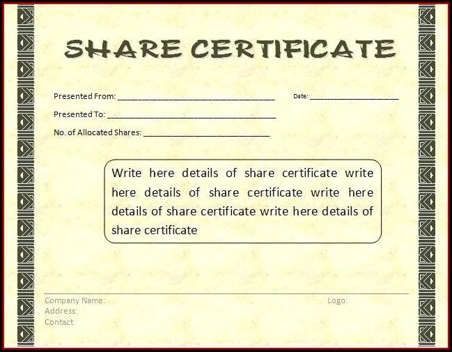 Australian Company Share Certificate Template