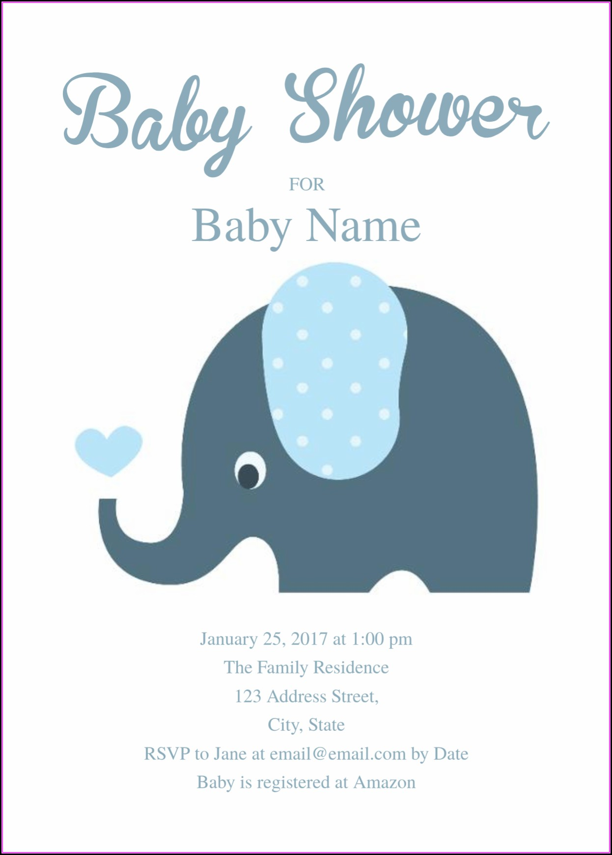 Baby Shower Elephant Invitation Templates