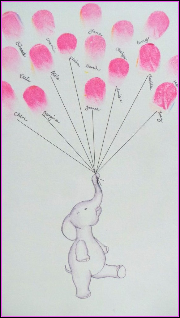 Baby Shower Fingerprint Elephant Template