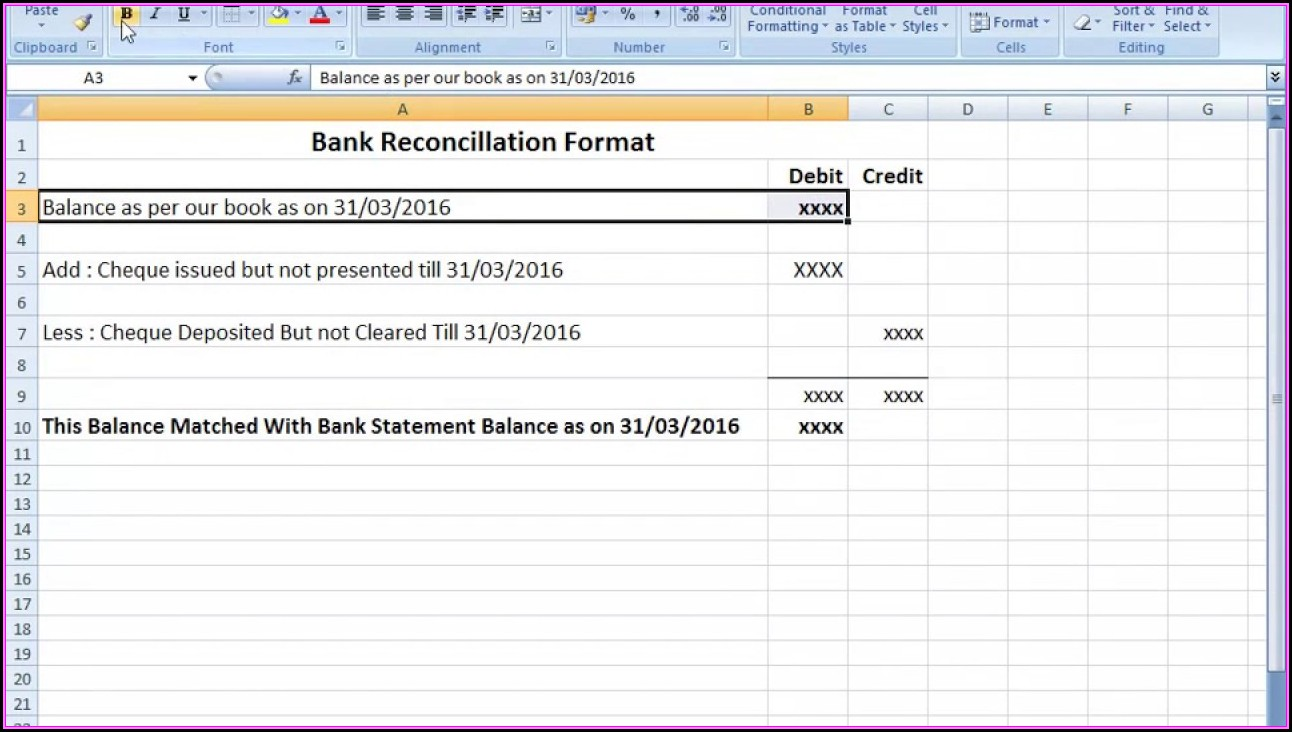 Bank Reconciliation Format Excel