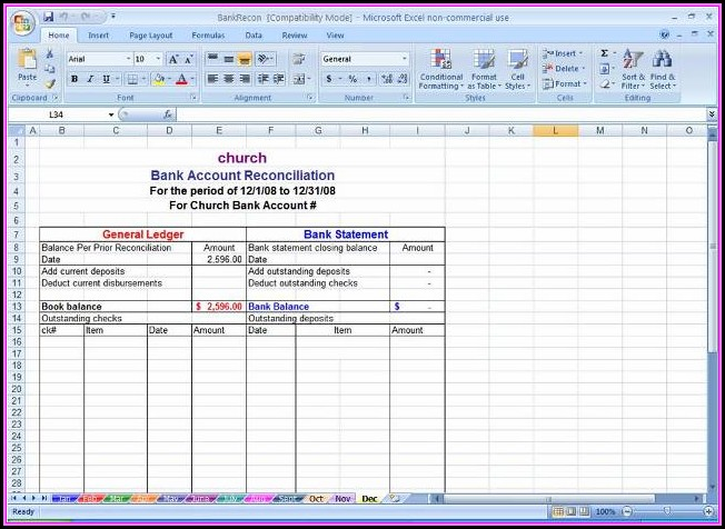 Bank Reconciliation Sample Excel