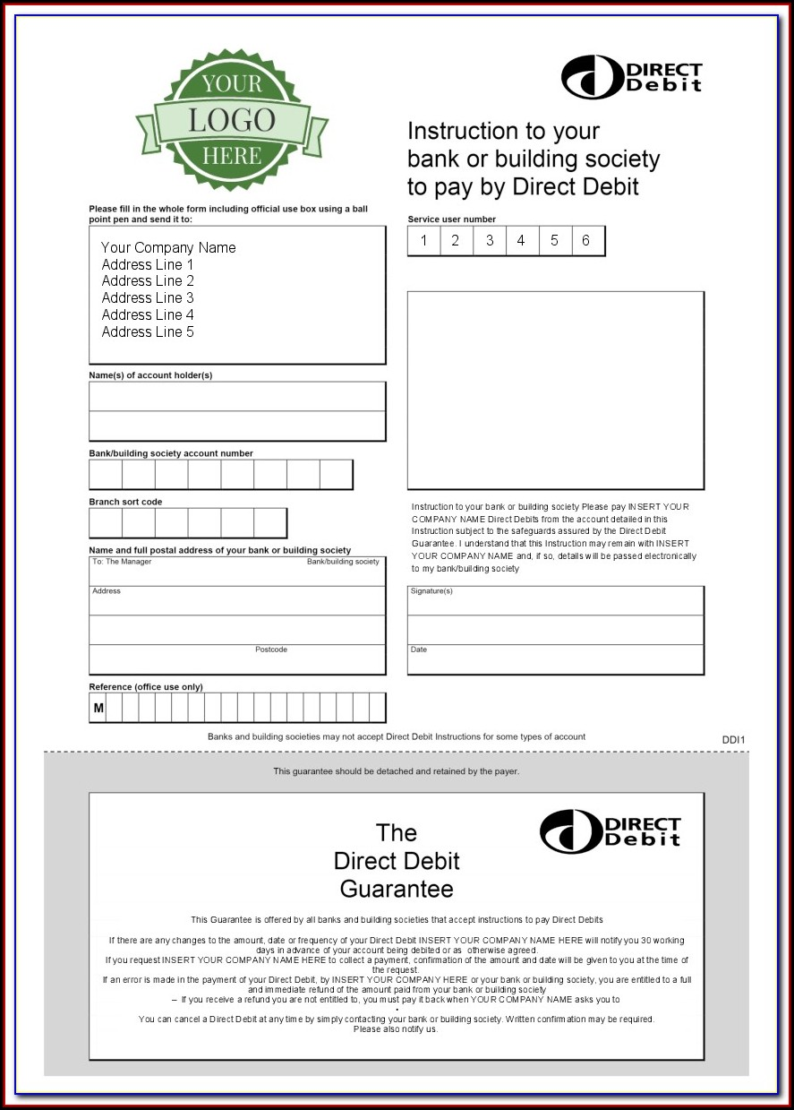 Barclays Direct Debit Form Template
