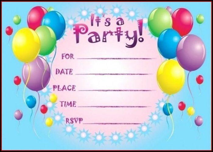 Birthday Party Invitation Templates Online Free