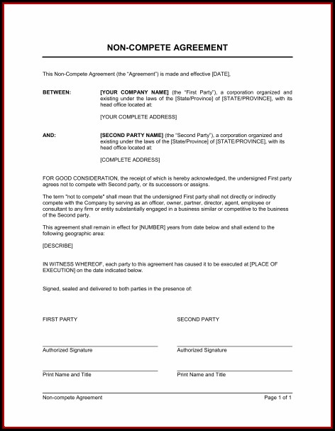 Business Non Compete Agreement Template